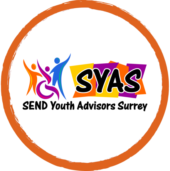 The SEND Youth Advisors Surrey Logo. The silhouettes of three people arm in arm is shown, with the middle person in a wheelchair. To the right of this is the acronym SYAS with yellow, orange and purple squares behind it. Underneath it reads: SEND Youth Advisors Surrey. All of this is circled in bright orange.