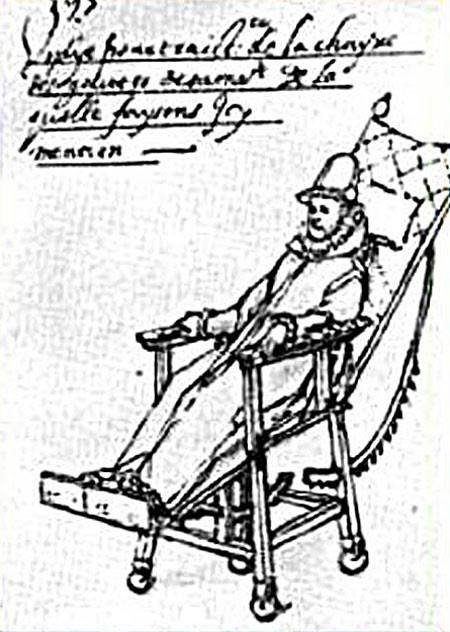 A drawing from the 15th Century of a man in a whellchair. The chair is large with small wheels. The person is slightly reclined due to the design of the chair