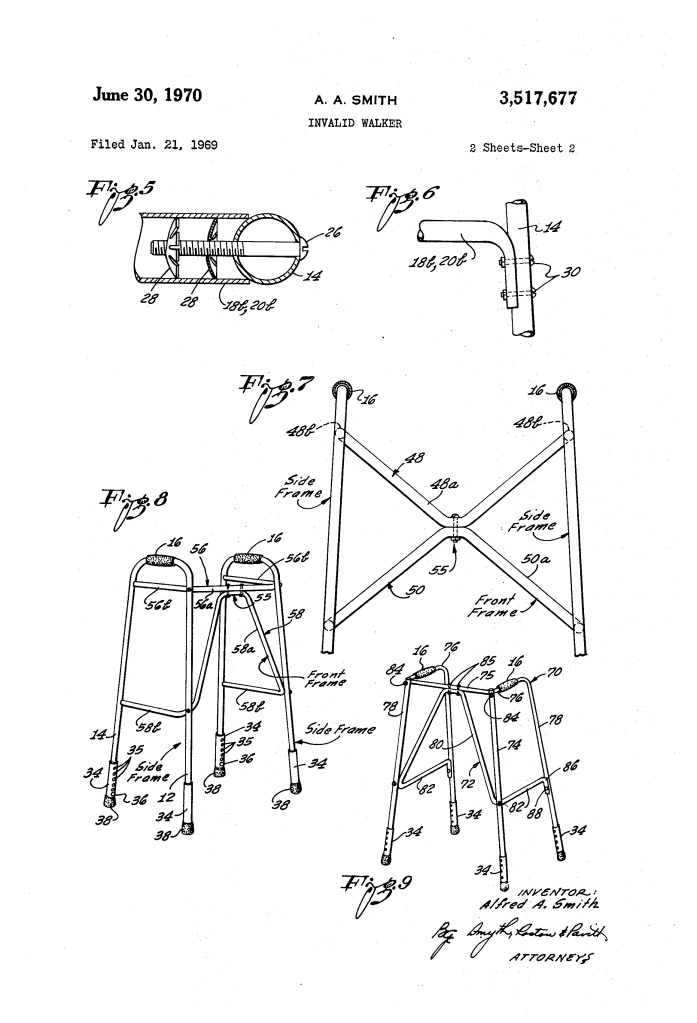 A technical drawing of a mobility aid walker. It shows a metal frame with 3 sides and handles at the top in two main designs and from different angles.