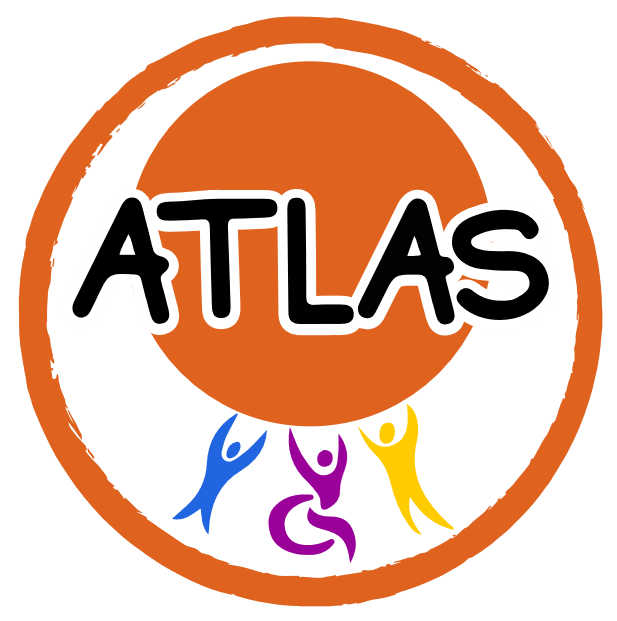 "The ATLAS logo. Inside the outline of a bright orange circle there are 3 silhouettes of people drawn holding up a large bright orange circle. The silhouettes are drawn in a stylistic rather than realistic way with their arms raised up above they head towards the orange circle. On the left the silhouette is blue and on the right is the tallest silhouette which is yellow. In the middle is a purple silhouette in a wheelchair. Across the middle of the orange circle ""ATLAS"" is written in large font."
