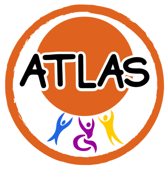 """The ATLAS logo. Inside the outline of a bright orange circle there are 3 silhouettes of people drawn holding up a large bright orange circle. The silhouettes are drawn in a stylistic rather than realistic way with their arms raised up above they head towards the orange circle. On the left the silhouette is blue and on the right is the tallest silhouette which is yellow. In the middle is a purple silhouette in a wheelchair. Across the middle of the orange circle """"ATLAS"""" is written in large font."""