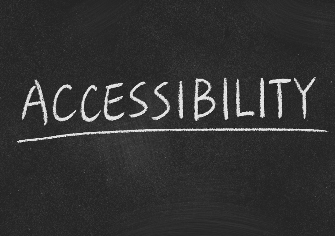 Accessibility is written in white chalk on a background that looks like a blackboard surface.