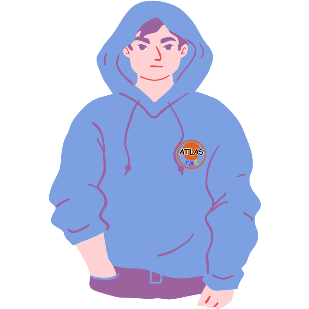 Cartoon boy in a blue hoodie with the ATLAS logo on it.