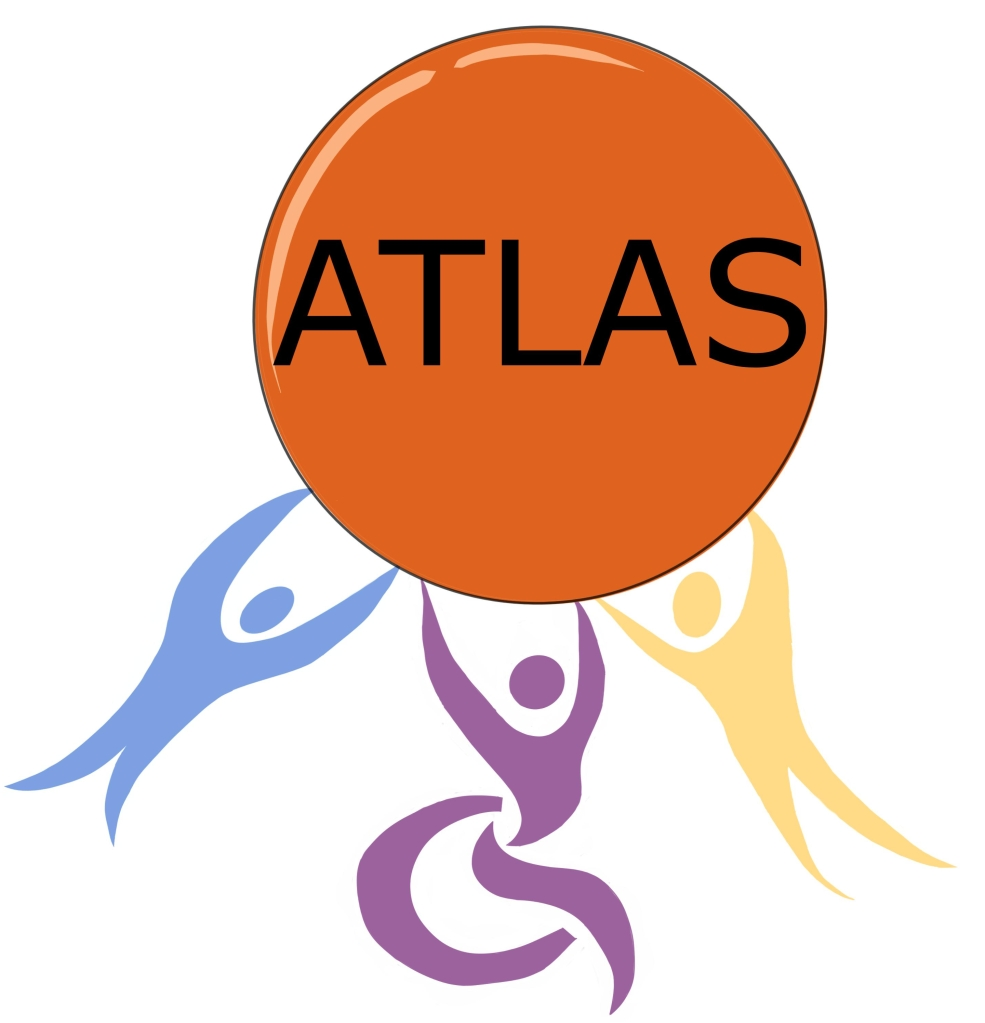"A design of the ATLAS logo drawn by a young person in ATLAS. There are 3 silhouettes of people drawn holding up a large bright orange circle. The silhouettes are drawn in a stylistic rather than realistic way with their arms raised up above they head towards the orange circle. On the left the silhouette is blue and on the right is the tallest silhouette which is yellow. In the middle is a purple silhouette in a wheelchair. Across the middle of the orange circle ""ATLAS"" is written in large font."