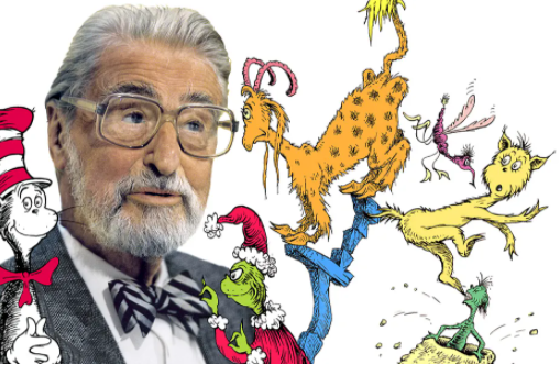 Photopgraph of Dr. Seuss with the illustrations of some of his characters from his books drawn around his head. He is wearing large square glass a grey blazer and a bow tie.