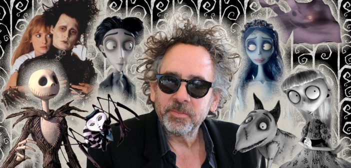 Photograph of Tim Burton with some of his characters pictured around his head and shoulders. Tim is wearing sunglasses and a black blazer.