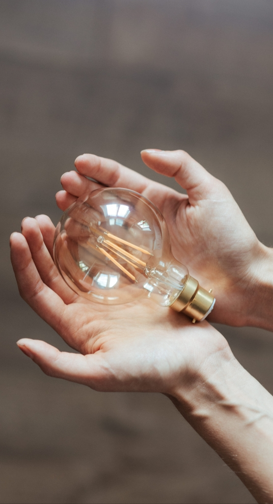 A large round lightbulb being gently cupped someone's hands.